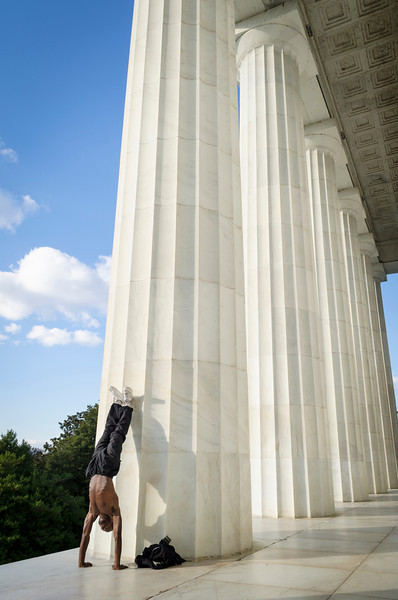 Handstand At Lincoln Memorial